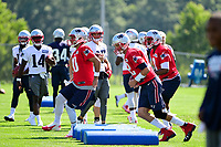 July 28, 2017: New England Patriots quarterback Tom Brady (12) and New England Patriots quarterback Jimmy Garoppolo (10) work on their footwork at the New England Patriots training camp held at Gillette Stadium, in Foxborough, Massachusetts. Eric Canha/CSM