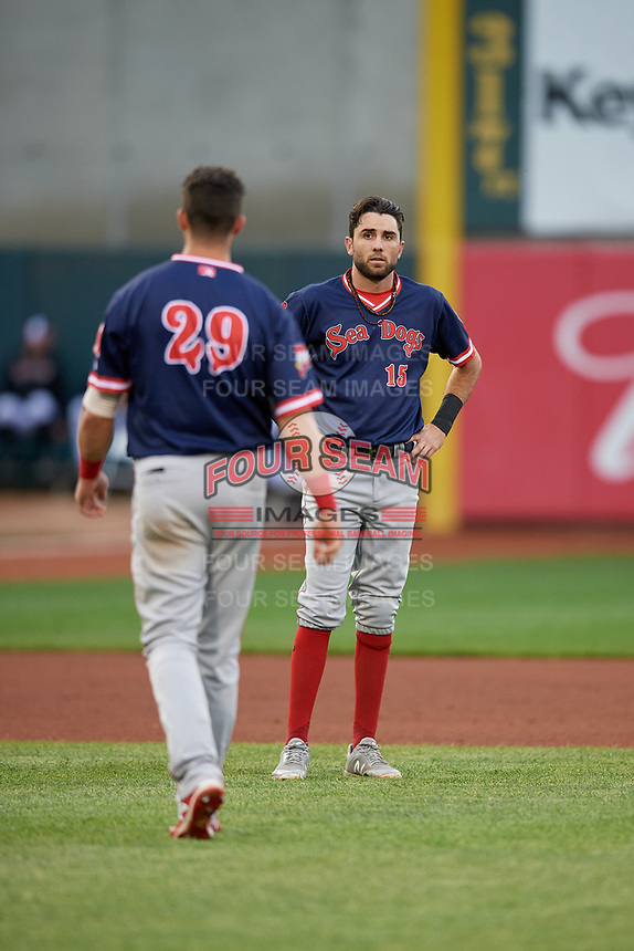 Portland Sea Dogs C.J. Chatham (15) and Bobby Dalbec (29) during an Eastern League game against the Erie SeaWolves on June 17, 2019 at UPMC Park in Erie, Pennsylvania.  Portland defeated Erie 6-3.  (Mike Janes/Four Seam Images)