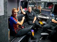 Nov 17, 2019; Pomona, CA, USA; NHRA top fuel driver Leah Pritchett and crew during the Auto Club Finals at Auto Club Raceway at Pomona. Mandatory Credit: Mark J. Rebilas-USA TODAY Sports