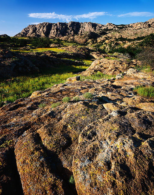 Sunset; granite outcrops & ridges; Charons Garden Wilderness Area; Oklahoma