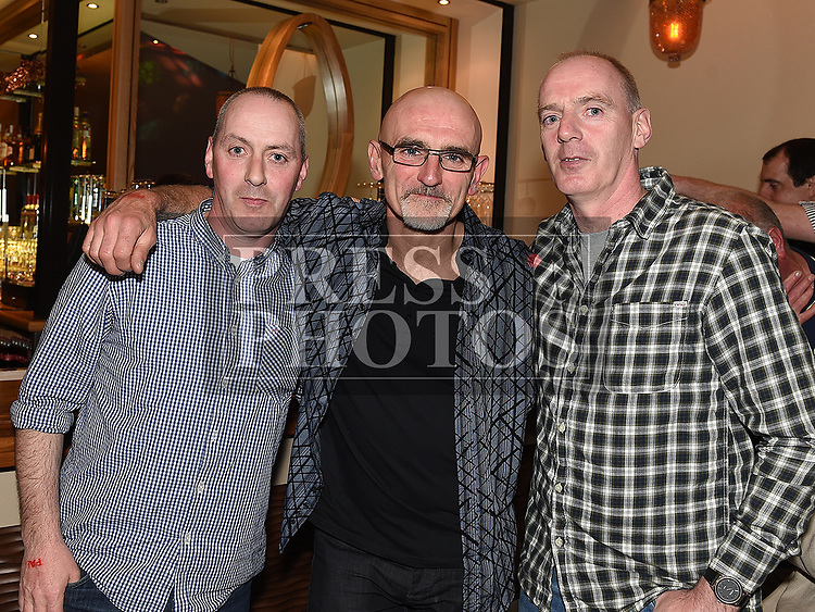 Philip O'Brien, Gary Briody and Martin O'Brien at the Rock Night For Rory in the Thatch. Photo:Colin Bell/pressphotos.ie