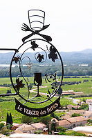 wrought iron sign restaurant verger des papes chateauneuf du pape rhone france