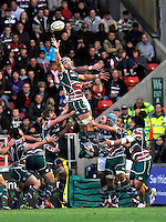 Leicester, England. Graham Kitchener of Leicester Tigers wins the line out  during the Aviva Premiership match between Leicester Tigers and Harlequins at Welford Road on September 22, 2012 in Leicester, England.
