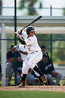 GCL Pirates catcher Yoel Gonzalez (5) at bat during the first game of a doubleheader against the GCL Yankees 2 on July 31, 2015 at the Pirate City in Bradenton, Florida.  GCL Pirates defeated the GCL Yankees 2 2-1.  (Mike Janes/Four Seam Images)
