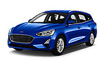 2018 Ford Focus Clipper Titanium Business 5 Door Wagon angular front stock photos of front three quarter view