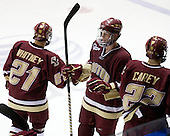 Steven Whitney (BC - 21), Philip Samuelsson (BC - 5), Paul Carey (BC - 22) - The Northeastern University Huskies defeated the Boston College Eagles 3-2 on Friday, February 19, 2010, at Matthews Arena in Boston, Massachusetts.