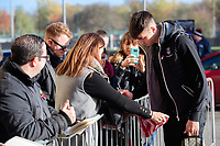Lincoln City's Ellis Chapman signs autographs as he arrives at the ground<br /> <br /> Photographer Chris Vaughan/CameraSport<br /> <br /> Emirates FA Cup First Round - Lincoln City v Northampton Town - Saturday 10th November 2018 - Sincil Bank - Lincoln<br />  <br /> World Copyright © 2018 CameraSport. All rights reserved. 43 Linden Ave. Countesthorpe. Leicester. England. LE8 5PG - Tel: +44 (0) 116 277 4147 - admin@camerasport.com - www.camerasport.com