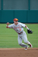 Jake Schleppenbach (6) of the Nebraska Cornhuskers during a game against the Long Beach State Dirtbags in the second game of a doubleheader at Blair Field on March 5, 2016 in Long Beach, California. Long Beach State defeated Nebraska, 3-1. (Larry Goren/Four Seam Images)