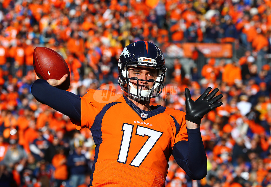 Jan 17, 2016; Denver, CO, USA; Denver Broncos quarterback Brock Osweiler (17) against the Pittsburgh Steelers during the AFC Divisional round playoff game at Sports Authority Field at Mile High. Mandatory Credit: Mark J. Rebilas-USA TODAY Sports