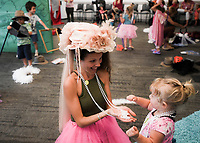 NWA Democrat-Gazette/CHARLIE KAIJO Charissa Garlow (center to left) plays dress up with Tenny Garlow, 2, of Rogers (center) during a preschool costume event, Thursday, September 13, 2018 at Crystal Bridges in Bentonville.<br /><br />Kids had the opportunity to create stories with creative play and outfits.