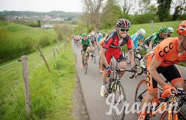 Samuel Sanchez (ESP/BMC) up the 'steepest climb' in Holland: Keutenberg (max 22%)<br /> <br /> Amstel Gold Race 2014