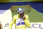 Yellow Jersey Julian Alaphilippe (FRA) Deceuninck-Quick Step blitzes the field winning Stage 13 of the 2019 Tour de France an individual time trial running 27.2km from Pau to Pau, France. 19th July 2019.<br /> Picture: Colin Flockton | Cyclefile<br /> All photos usage must carry mandatory copyright credit (© Cyclefile | Colin Flockton)