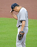 New York Yankees starting pitcher Masahiro Tanaka (19) tries to compose himself after giving up a two run double to Baltimore Orioles right fielder Joey Rickard in the fourth inning at Oriole Park at Camden Yards in Baltimore, MD on Tuesday, July 10, 2018.<br /> Credit: Ron Sachs / CNP<br /> (RESTRICTION: NO New York or New Jersey Newspapers or newspapers within a 75 mile radius of New York City) Credit: Ron Sachs/MediaPunch