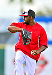 22 February 2013: Washington Nationals' outfielder Denard Span warms up during a full squad Spring Training workout at Space Coast Stadium in Viera, Florida. Mandatory Credit: Ed Wolfstein Photo