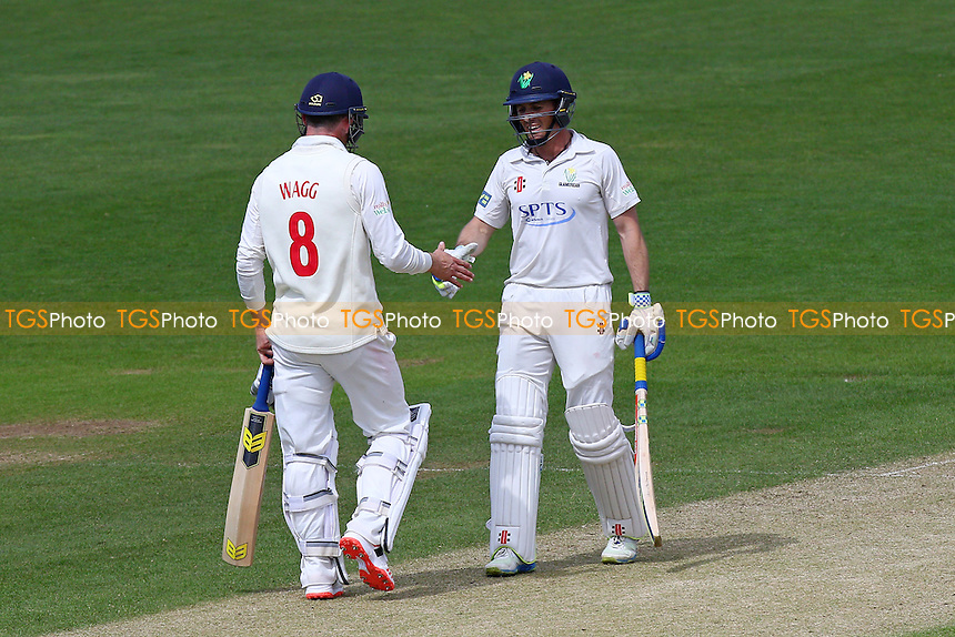 Graham Wagg congratulates Mark Wallace (R) of Glamorgan on his fifty - Glamorgan CCC vs Essex CCC - LV County Championship Division Two Cricket at the SWALEC Stadium, Sophia Gardens, Cardiff, Wales - 20/05/15 - MANDATORY CREDIT: TGSPHOTO - Self billing applies where appropriate - contact@tgsphoto.co.uk - NO UNPAID USE