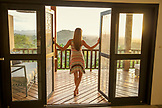 BELIZE, Punta Gorda, Toledo, Belcampo Belize Lodge and Jungle Farm, a guest enjoying all the amenities of the Ridge Suite, which offers stunning views, a private screened porch, outdoor soaking tubs and access to a salt water infinity pool