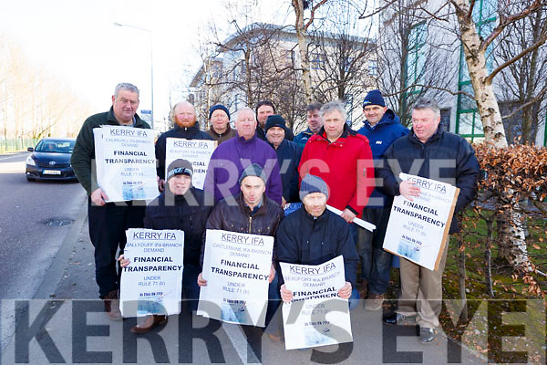 Kerry farmers protesting outside the Kerry branch of the IFA on Dan Spring road in Tralee on Tuesday morning last. Kneeling front: Jason Foley (Kilcummin), Michael Kirby (Churchill), Mike O&rsquo;Dowd (Castlemaine).<br /> Standing l to r: Michael Halloran (Churchill), Humphrey Foley (Killarney), Joe Dillion (Abbeydorney), Brian Mulvihill (Listowel), Francis Foley (Castlemaine), Loughton Spring (Castlemaine), James Howard (Castlemaine), John Burke (Castlemaine), Denis O&rsquo;Connor (Brosna) and Ger Teahan (Castlemaine).