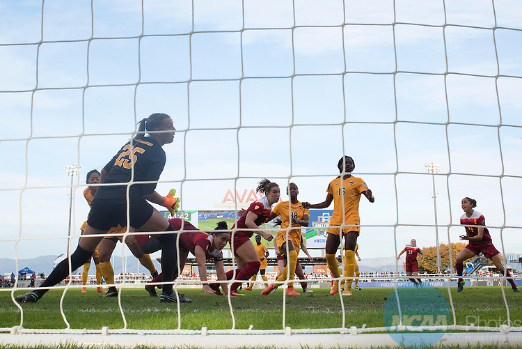 SAN JOSE, CA - DECEMBER 04:  Morgan Andrews (3) of the University of Southern California scores against West Virginia University during the Division I Women's Soccer Championship held at Avaya Stadium on December 04, 2016 in San Jose, California.  USC defeated West Virginia 3-1 for the national title. (Photo by Jamie Schwaberow/NCAA Photos via Getty Images)