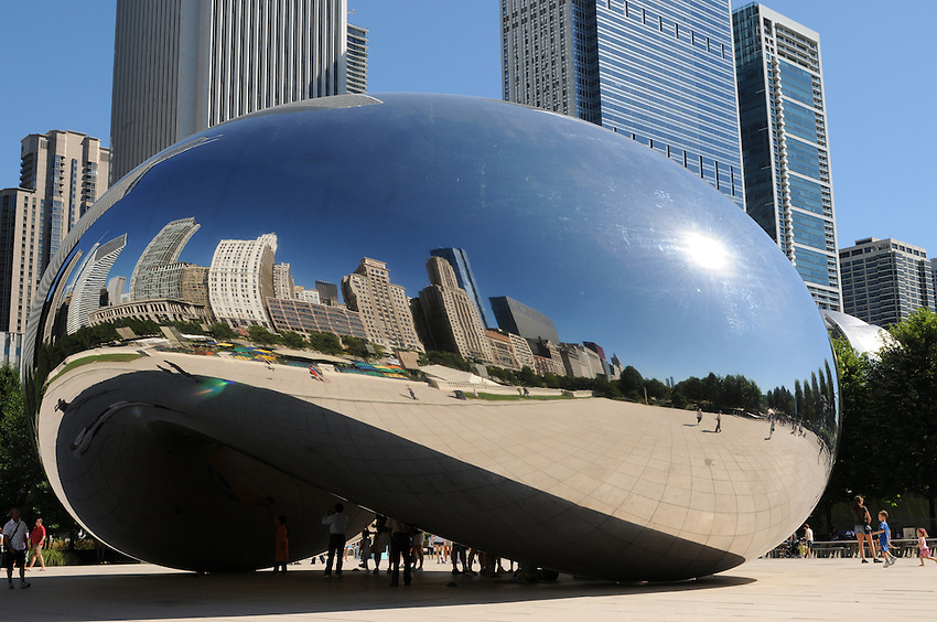 "Anish Kapoor's vision of liquid mercury realized; ""Cloud Gate"" is more often referred to as ""The Jelly Bean"".  Located within Chicago's magnificent Millenium Park, it is the British artist's first American outdoor public art installation."