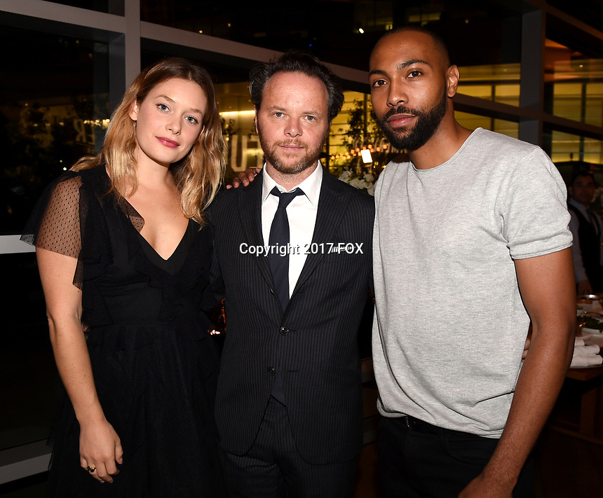 LOS ANGELES, CA - SEPTEMBER 16: (L-R) Rachel Keller, Noah Hawley and Jeremie Harris attend the FX Networks and Vanity Fair 2017 Primetime Emmy Nominee Celebration at Craft LA on September 16, 2017 in Los Angeles, California. (Photo by Frank Micelotta/FX/PictureGroup)
