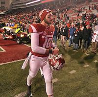 NWA Democrat-Gazette/MICHAEL WOODS • Mississippi University of Arkansas quarterback Brandon Allen (10) a heads to the locker room following the Razorbacks 51-50 loss to Mississippi State Saturday night at Razorback Stadium November 21, 2015.