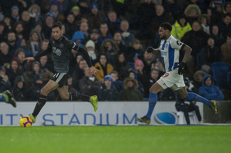Burnley's Dwight McNeil (left) under pressure from Brighton &amp; Hove Albion's Jurgen Locadia (right)  <br /> <br /> Photographer David Horton/CameraSport<br /> <br /> The Premier League - Brighton and Hove Albion v Burnley - Saturday 9th February 2019 - The Amex Stadium - Brighton<br /> <br /> World Copyright &copy; 2019 CameraSport. All rights reserved. 43 Linden Ave. Countesthorpe. Leicester. England. LE8 5PG - Tel: +44 (0) 116 277 4147 - admin@camerasport.com - www.camerasport.com