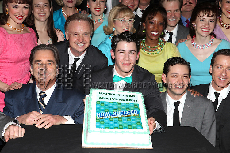 Beau Bridges, Nick Jonas & Michael Urie.backstage with the cast of 'How To Succeed In Business Without Really Trying' Celebrating their 1 Year on Broadway at  the Al Hirschfield Theatre  in New York on 3/28/2012 © Walter McBride/WM Photography