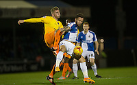 Matty Taylor of Bristol Rovers holds off Jason McCarthy of Wycombe Wanderers during the Sky Bet League 2 rearranged match between Bristol Rovers and Wycombe Wanderers at the Memorial Stadium, Bristol, England on 1 December 2015. Photo by Andy Rowland.