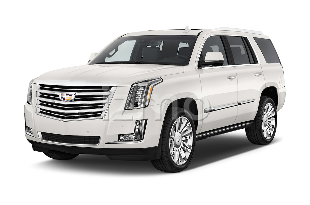 2017 Cadillac Escalade Platinum 5 Door SUV Angular Front stock photos of front three quarter view