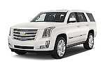 2017 Cadillac Escalade Platinum 5 Door SUV Angular Front stock photos of front three quarter view