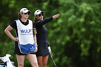 Maria Fassi (right) and caddy Olivia Lavy line up a shot, Saturday, June 27, 2020 during the final round of the WAPT pro golf tournament in Bella Vista. Check out nwaonline.com/200627Daily/ for today's photo gallery. <br /> (NWA Democrat-Gazette/Charlie Kaijo)