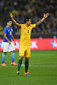 June 13th 2017, Melbourne Cricket Ground, Melbourne, Australia; International Football Friendly; Brazil versus Australia; Tim Cahill of Australia throws his hands up in the air after a decision from a referee