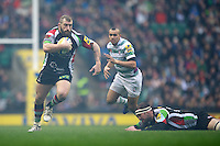 Joe Marler of Harlequins charges upfield during the Aviva Premiership match between Harlequins and London Irish at Twickenham on Saturday 29th December 2012 (Photo by Rob Munro).