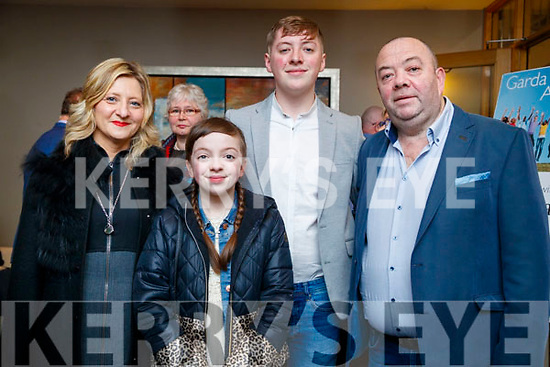 Roz, Ava, Darragh (receipent) and Ger Boyd, Tralee, pictured at Lee Strand/Kerry Garda Youth Achievement Awards 2017 at Ballyroe Heights Hotel, Tralee, on Friday night last.