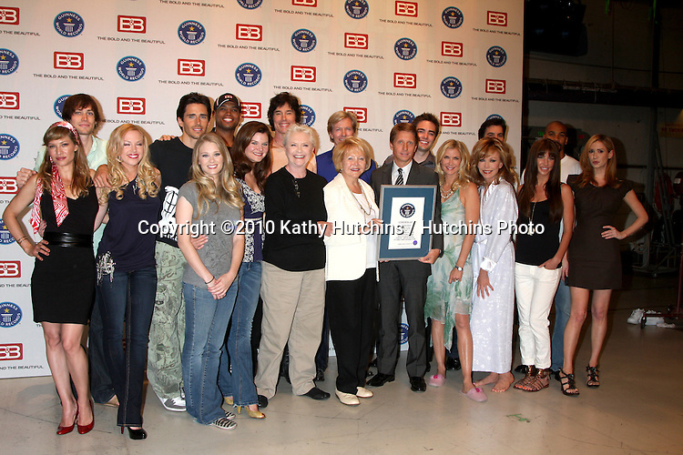 "Bold & The Beautiful Cast.Guinness World Records®  presents THE BOLD AND THE BEAUTIFUL with the certification as the  ""Most Popular Daytime TV Soap - Current..Bold & Beautiful Set, Stage 31, CBS Televsion CIty.Los Angeles, CA.May 18, 2010.©2010 Kathy Hutchins / Hutchins Photo.."