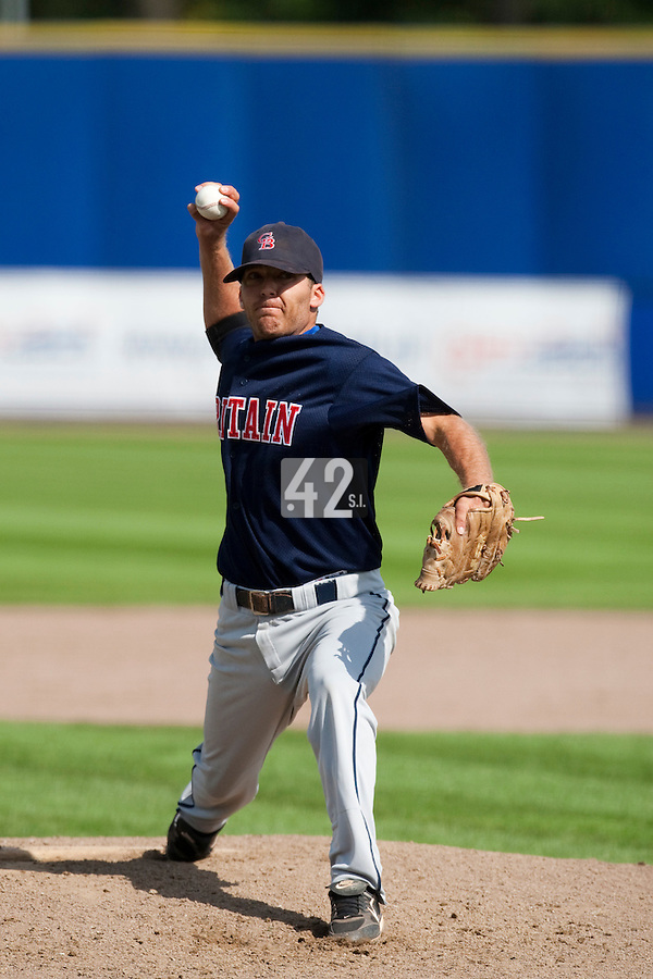 14 September 2009: Samuel Whitehead of Great Britain pitches against South Korea during the 2009 Baseball World Cup Group F second round match game won 15-5 by South Korea over Great Britain, in the Dutch city of Amsterdan, Netherlands.