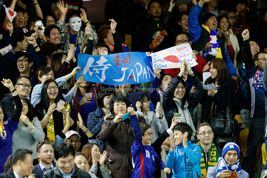 October 11, 2016: Japan fans celebrate a goal during a 3rd round Group B World Cup 2018 qualification match between Australia and Japan at the Docklands Stadium in Melbourne, Australia. Photo Sydney Low Please visit zumapress.com for editorial licensing. *This image is NOT FOR SALE via this web site.