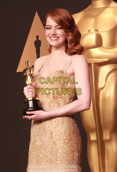 26 February 2017 - Hollywood, California -Best Actress: Emma Stone (La La Land). 89th Annual Academy Awards presented by the Academy of Motion Picture Arts and Sciences held at Hollywood &amp; Highland Center. Photo Credit: Theresa Bouche/AdMedia<br /> CAP/ADM/TB<br /> &copy;TB/ADM/Capital Pictures