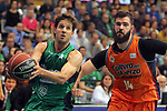 League ACB-ENDESA 2017/2018. Game: 30.<br /> Divina Seguros Joventut vs Valencia Baket Club: 77-75.<br /> Nico Laprovittola vs Bojan Dubljevic.
