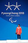 Gurimu Narita (JPN), <br /> MARCH 16, 2018 - Snowboarding : Men's Banked Slalom StandingMedal Ceremony  <br /> at PyeongChang Medal Plaza <br /> during the PyeongChang 2018 Paralympics Winter Games in Pyeongchang, South Korea. <br /> (Photo by Yusuke Nakanishi/AFLO SPORT)