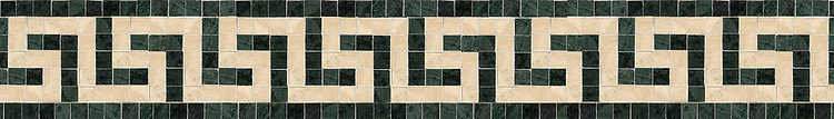 "4"" Greek Key border, a hand-cut mosaic shown in polished Verde Alpi and Travertine White by New Ravenna."