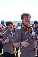 Scouts from UK are happy about the arrival at the Jamboree