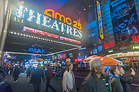 The AMC 25 Theatre and the Regal Cinemas in Times Square in New York on Tuesday, May 3, 2016. (© Richard B. Levine)