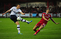 Preston North End's Marnick Vermijl has his shot blocked by Accrington Stanley's Sean McConville<br /> <br /> Photographer Kevin Barnes/CameraSport<br /> <br /> The Carabao Cup - Accrington Stanley v Preston North End - Tuesday 8th August 2017 - Crown Ground - Accrington<br />  <br /> World Copyright &copy; 2017 CameraSport. All rights reserved. 43 Linden Ave. Countesthorpe. Leicester. England. LE8 5PG - Tel: +44 (0) 116 277 4147 - admin@camerasport.com - www.camerasport.com
