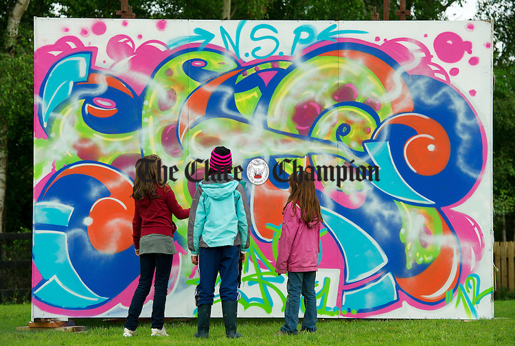 A graffiti wall which was painted as part of the Iniscealtra Festival of Arts at Mountshannon. Photograph by John Kelly.