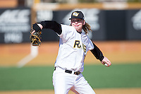 VCU Rams starting pitcher Heath Dwyer (35) delivers a pitch to the plate against the Georgetown Hoyas at Wake Forest Baseball Park on February 13, 2015 in Winston-Salem, North Carolina.  The Rams defeated the Hoyas 6-3.  (Brian Westerholt/Four Seam Images)