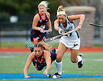 EASTON, MA - NOVEMBER 20:  Mary Spisak (24) of Shippensburg University dives to try to keep the ball from Emily Miller (21) of LIU Post during the NCAA Division II Field Hockey Championship at WB Mason Stadium on November 20, 2016 in Easton, Massachusetts.  Shippensburg University defeated LIU Post 2-1 for the national title. (Photo by Winslow Townson/NCAA Photos via Getty Images)