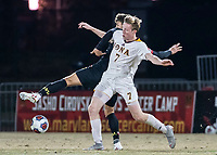 COLLEGE PARK, MD - NOVEMBER 21: Eli Crognale #10 of Maryland nd Josh Plimpton #7 of Iona go up for the ball during a game between Iona College and University of Maryland at Ludwig Field on November 21, 2019 in College Park, Maryland.
