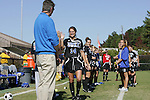 26 October 2008: Duke's Christie McDonald (14) and her parents during Senior Day festivities. The Duke University Blue Devils defeated the Clemson University Tigers 6-0 at Koskinen Stadium in Durham, North Carolina in an NCAA Division I Women's college soccer game.