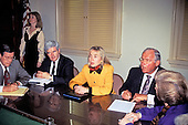 First lady Hillary Rodham Clinton, head of the Task Force on National Health Care Reform, center, meets with United States House Minority Leader Robert H. Michel (Republican of Illinois), right, and U.S. House Minority Whip Newt Gingrich (Republican of Georgia), left, in the U.S. Capitol in Washington, D.C. on February 16, 1993.  The first lady was on Capitol Hill to discuss health care issues.<br /> Credit: Brad Markel / Pool via CNP
